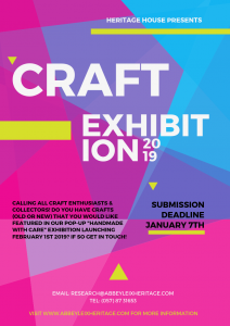 Final submission date for pop-up Exhibition @ Heritage House Abbeyleix